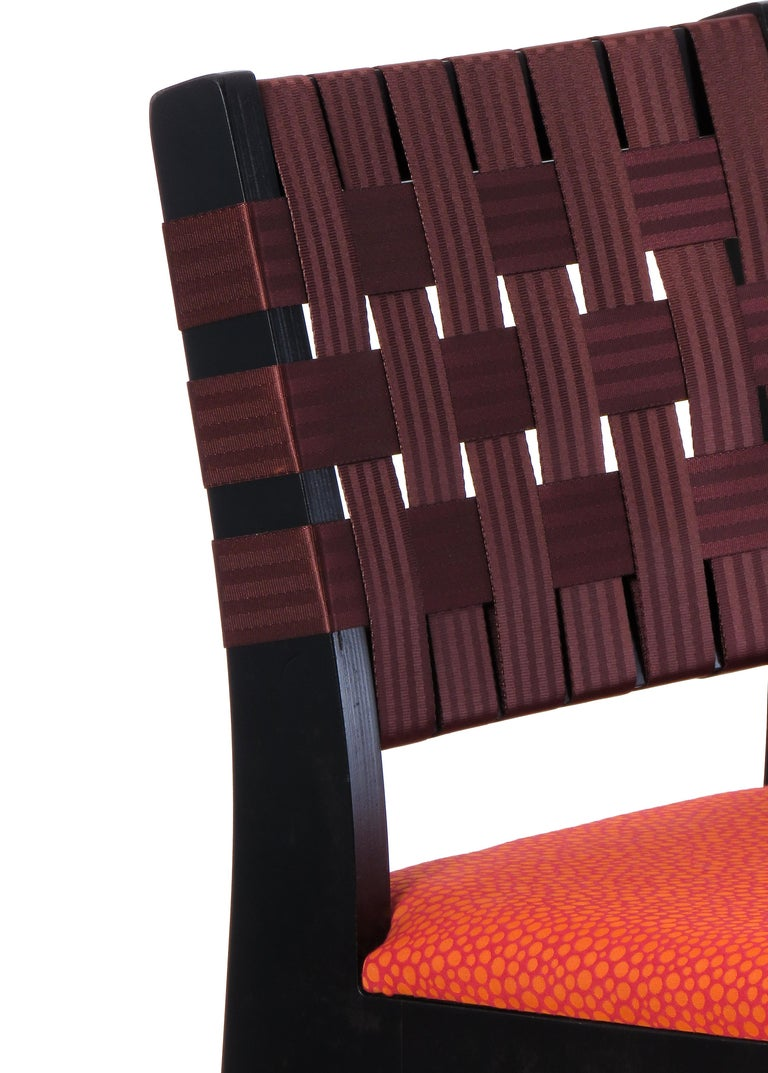 Maple Side Chair In Wenge with Champagne Woven Seat & Back by Peter Danko For Sale 5