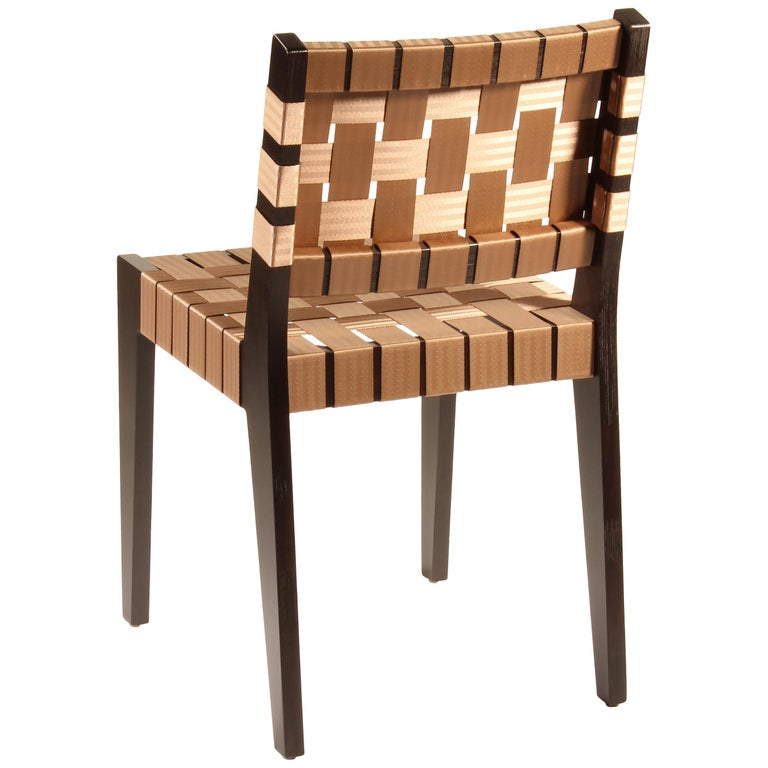 Maple Side Chair In Wenge with Champagne Woven Seat & Back by Peter Danko For Sale