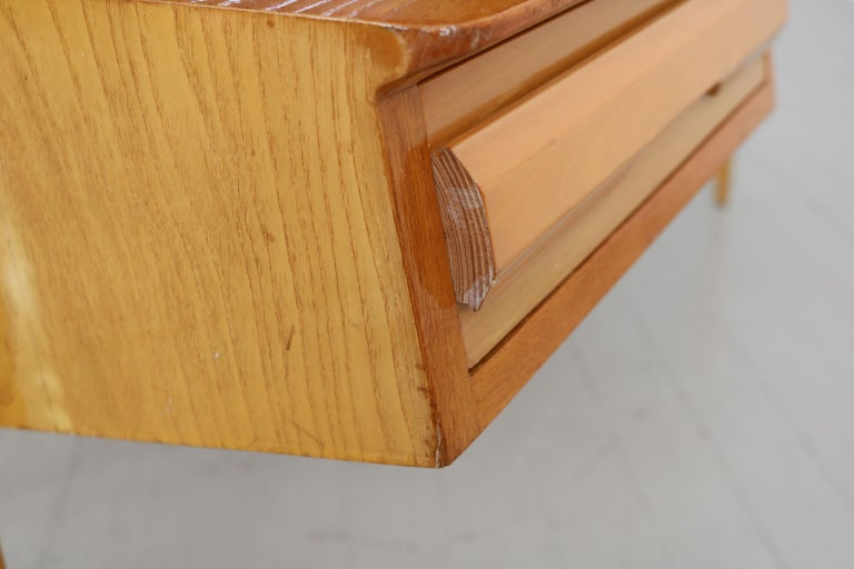 Maple Wood Italian Midcentury Desk with Bookcase For Sale 8