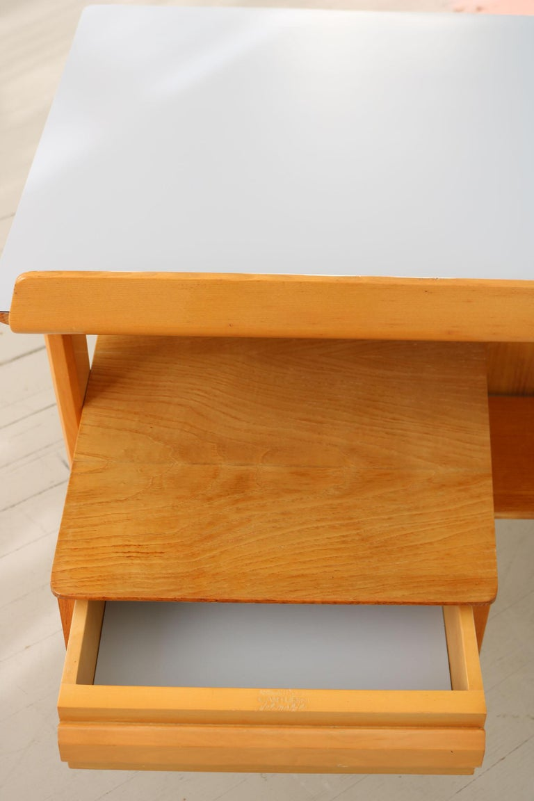 Maple Wood Italian Midcentury Desk with Bookcase For Sale 9