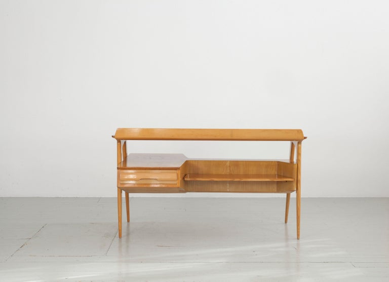 Lacquered Maple Wood Italian Midcentury Desk with Bookcase For Sale