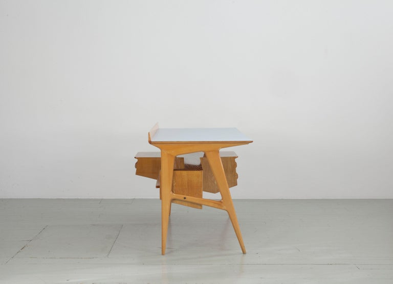 Mid-20th Century Maple Wood Italian Midcentury Desk with Bookcase For Sale