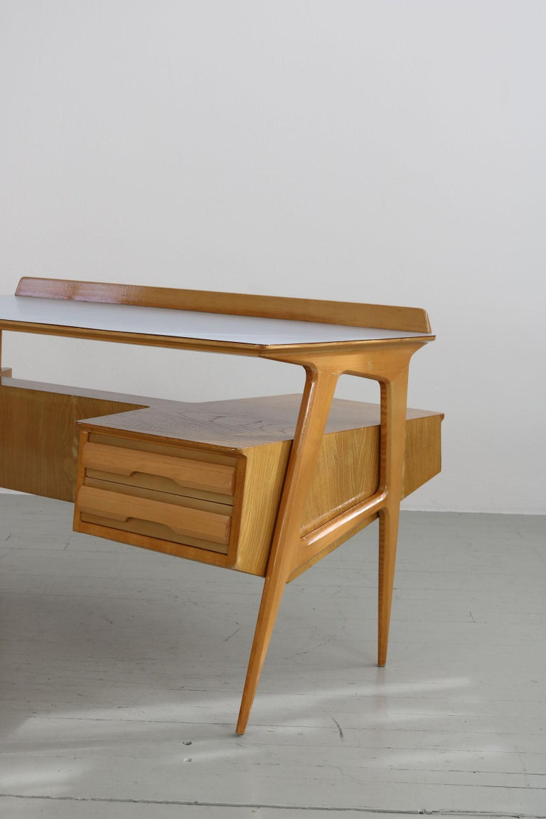 Maple Wood Italian Midcentury Desk with Bookcase For Sale 2