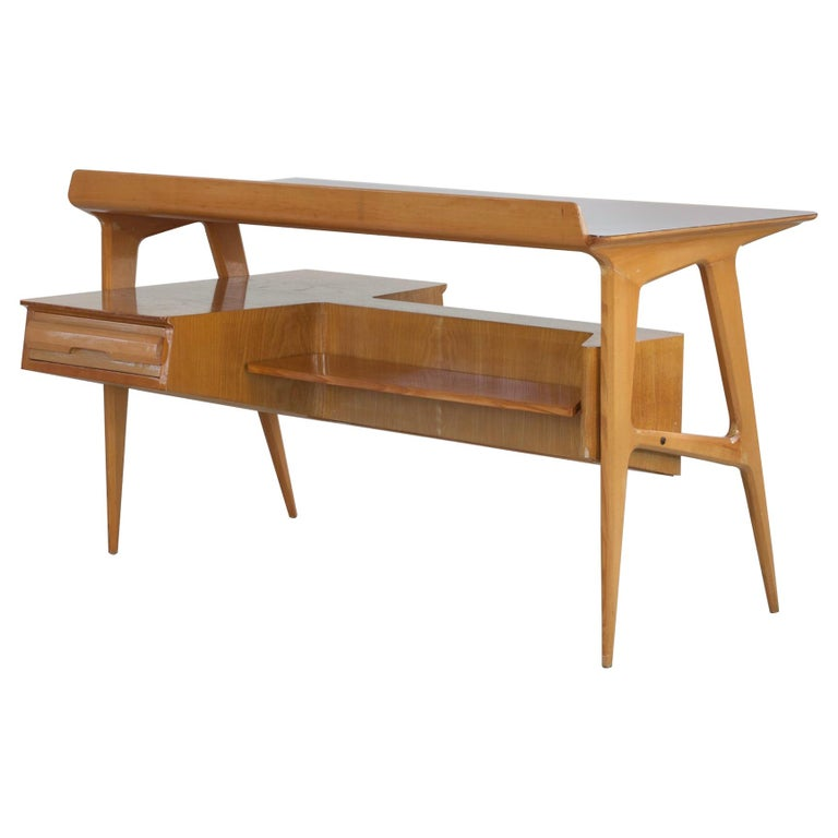 Maple Wood Italian Midcentury Desk with Bookcase For Sale