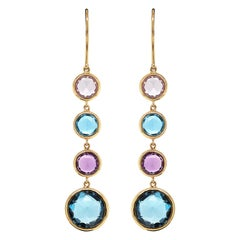 Mappin & Webb 18 Carat Yellow Gold Blue Topaz and Amethyst Drop Earrings