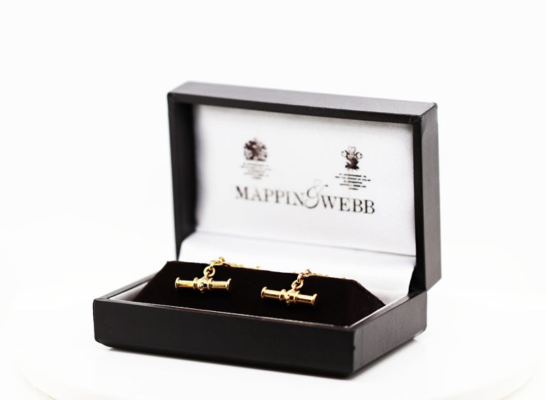 Mappin & Webb 18 Carat Yellow Gold Chain Link Cufflinks For Sale 2