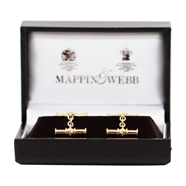 Mappin & Webb 18 Carat Yellow Gold Chain Link Cufflinks For Sale
