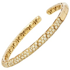 Mappin & Webb 18 Karat Yellow Gold Fancy Yellow Round Cut Diamond Cuff Bangle