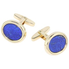 Mappin & Webb 18kt Yellow Gold Cufflinks with Lapis Lazuli Stone