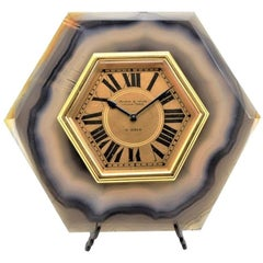 Mappin & Webb Agate and Gilded Brass Art Deco Style Desk Clock