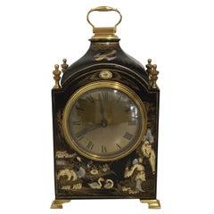 Mappin & Webb Decorative Black Chinoiserie Clock, circa 1920