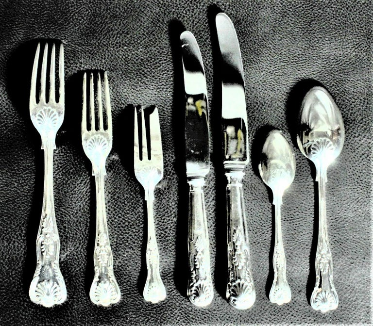English Mappin & Webb Kings Pattern Silver Plated Dinner & Luncheon Flatware Set 49 Pcs For Sale