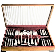 Mappin & Webb Kings Pattern Silver Plated Dinner & Luncheon Flatware Set 49 Pcs