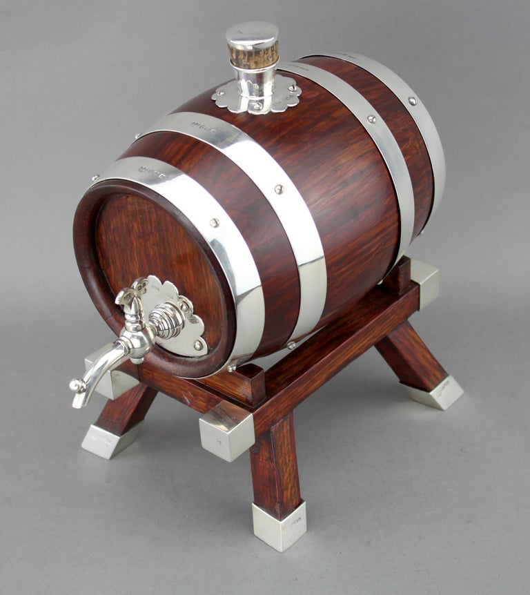 British Mappin & Webb, Silver and Wooden Barrel / Keg with Tap for Whiskey, 1925 For Sale
