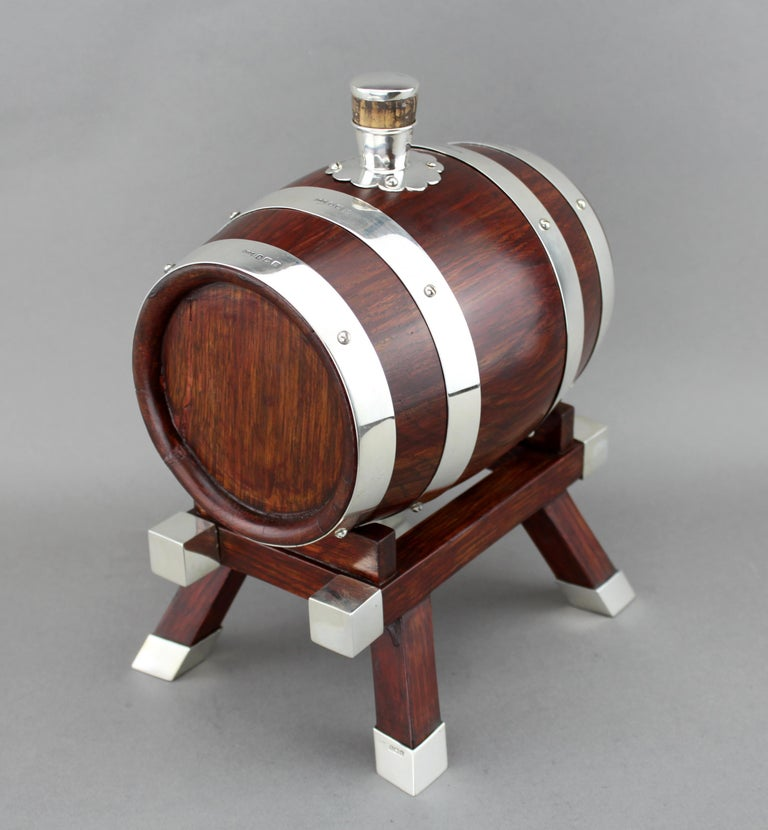 Early 20th Century Mappin & Webb, Silver and Wooden Barrel / Keg with Tap for Whiskey, 1925 For Sale