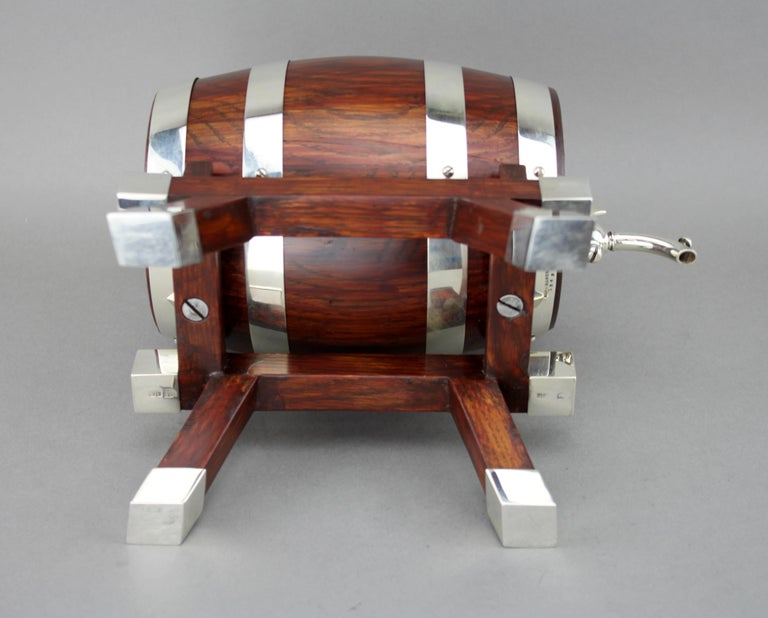 Sterling Silver Mappin & Webb, Silver and Wooden Barrel / Keg with Tap for Whiskey, 1925 For Sale