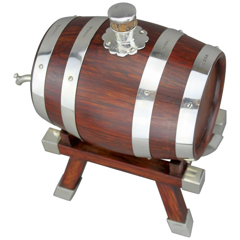 Mappin & Webb, Silver and Wooden Barrel / Keg with Tap for Whiskey, 1925 For Sale