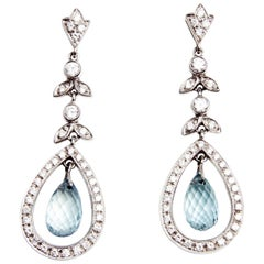 Mappin & Webb White Gold, Diamond and Aquamarine Earrings and Pendant Set