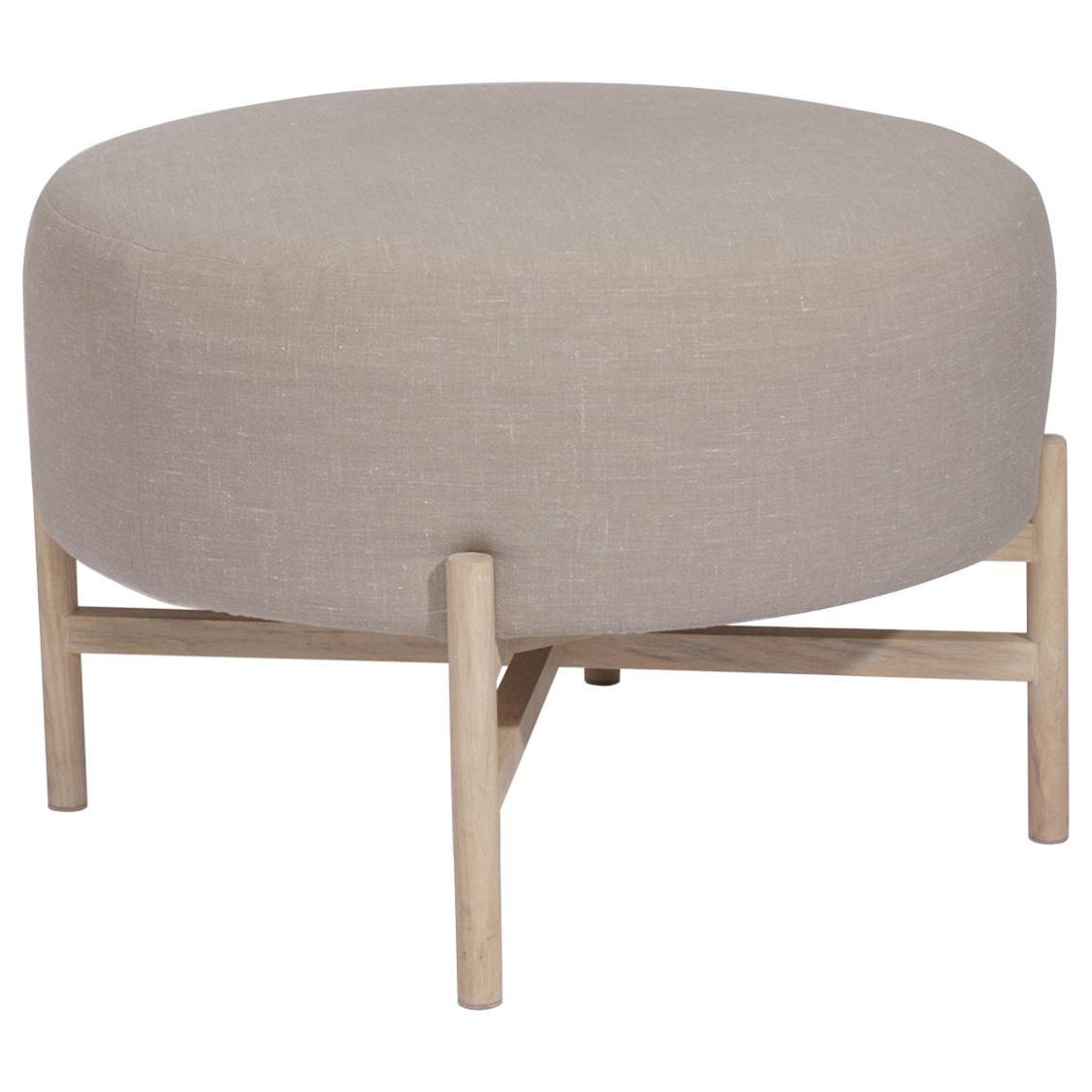 Mar upholstery and ash wood small Ottoman