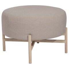 Mar upholstery and ash wood small Ottoman
