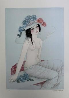 "Mara Tran-Long - ""Nu Aux Roses Bleues"" Nude"