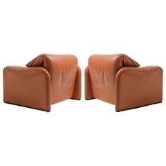 Maralunga Cognac Leather Club Chairs by Vico Magistretti for Cassina, 1974