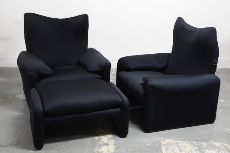 'Maralunga' Lounge Chairs and Ottoman by Vico Magistretti for Cassina, c. 1970 4