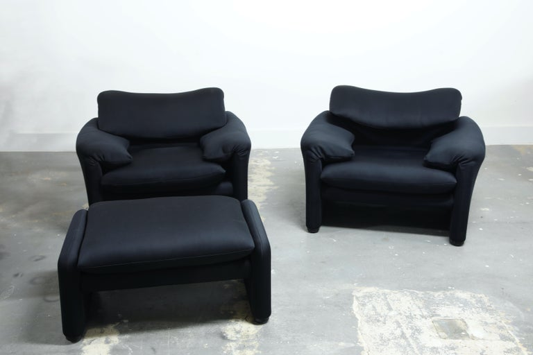 Mid-Century Modern 'Maralunga' Lounge Chairs and Ottoman by Vico Magistretti for Cassina, c. 1970