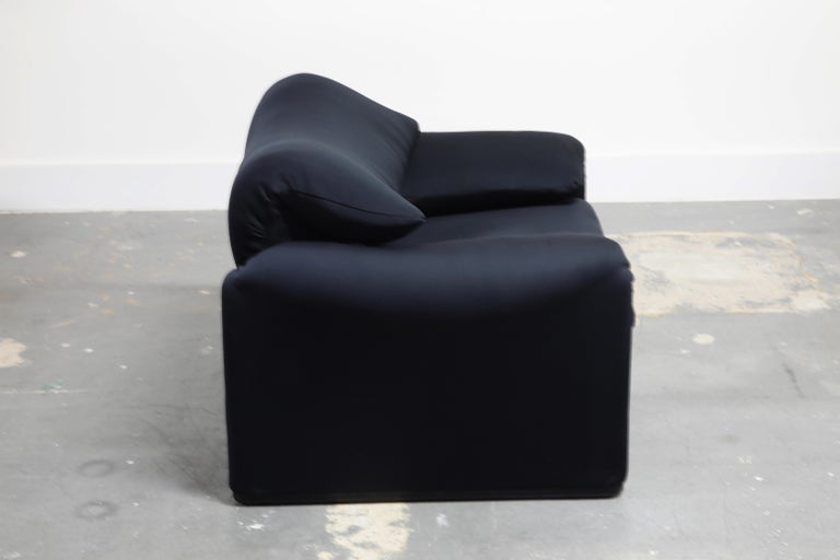 Fabric 'Maralunga' Lounge Chairs and Ottoman by Vico Magistretti for Cassina, c. 1970