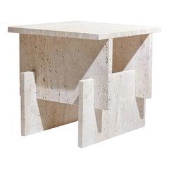 """Marbelous Fit Side Table"" Minimalist Coffee table in Travertine Marble"