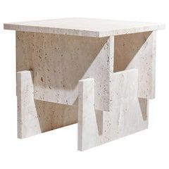 """Marbelous Fit Side Table"" Minimalist Side Table in Travertine Marble"