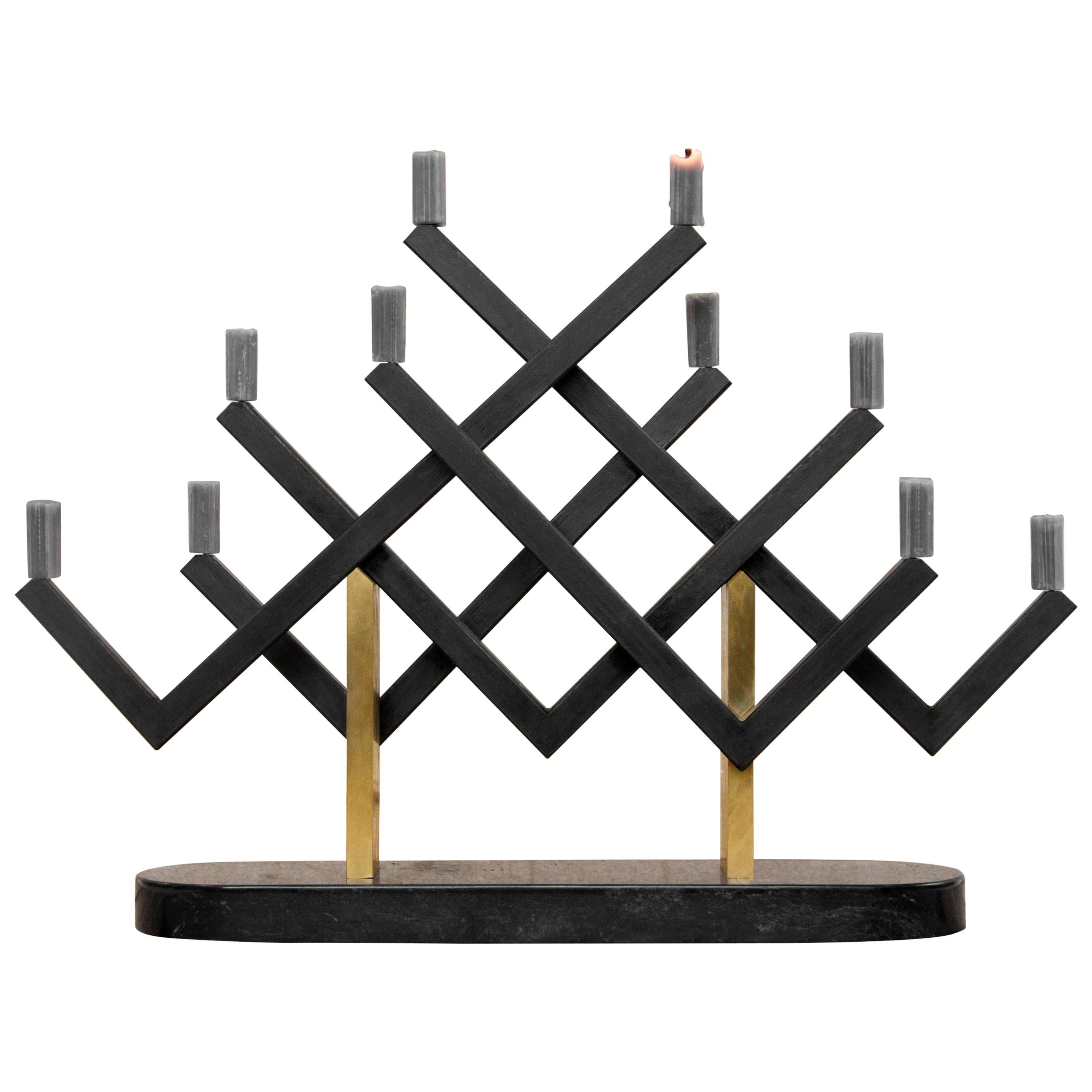 Marble and Brass Cancello Candelabra by Oeuffice
