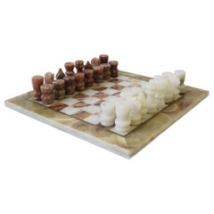 Marble and Brass Chess Game Set, circa 1970s