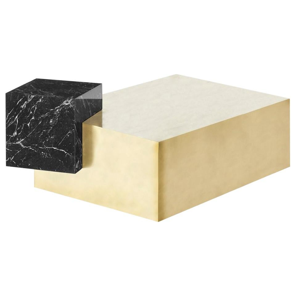 Marble and Brass Coexist Askew Coffee Table by Slash Objects