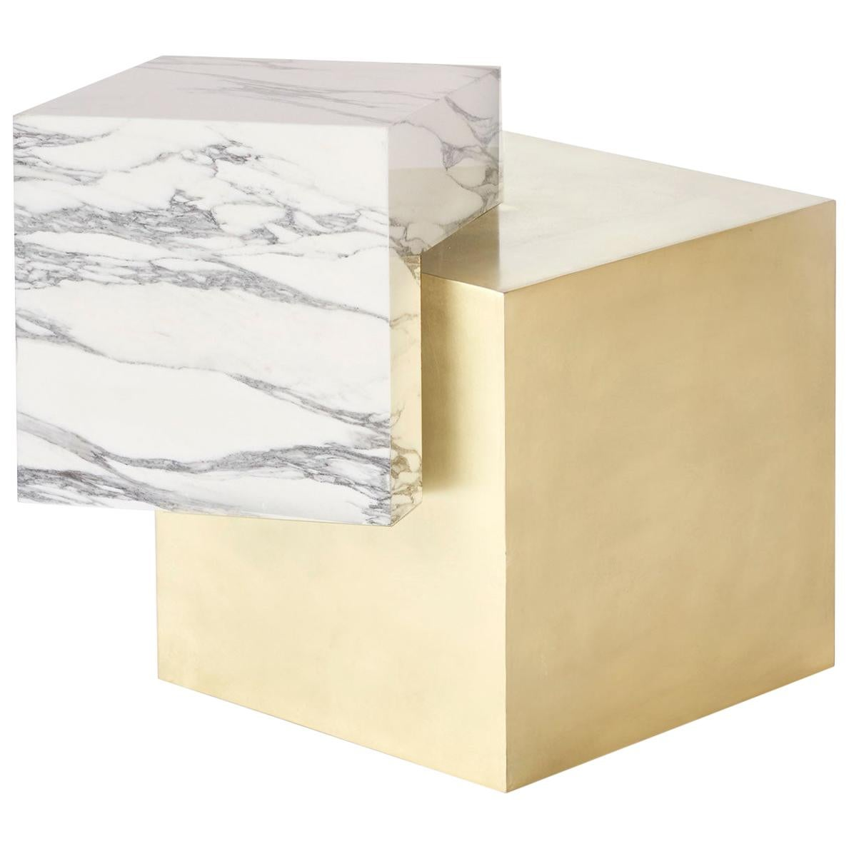 Marble and Brass Coexist Askew Side Table by Slash Objects