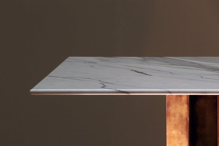 English Marble and Brass Dining Table Handcrafted and Signed by Novocastrian For Sale
