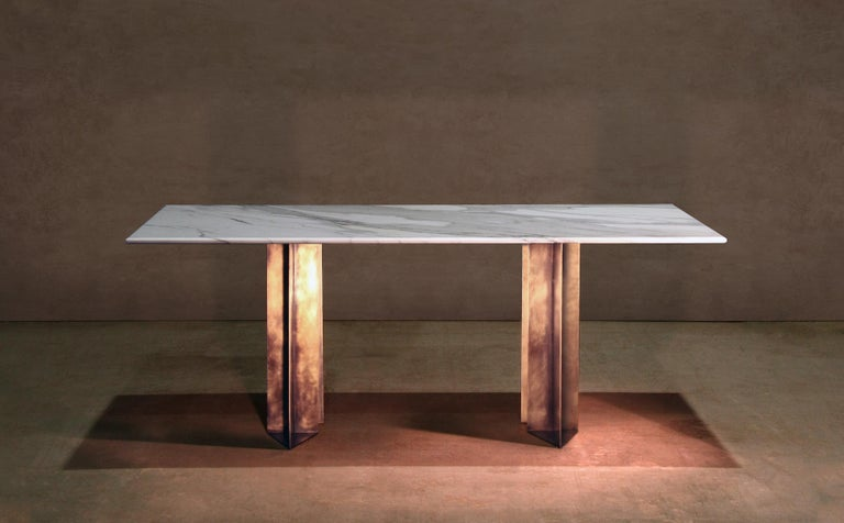 Contemporary Marble and Brass Dining Table Handcrafted and Signed by Novocastrian For Sale