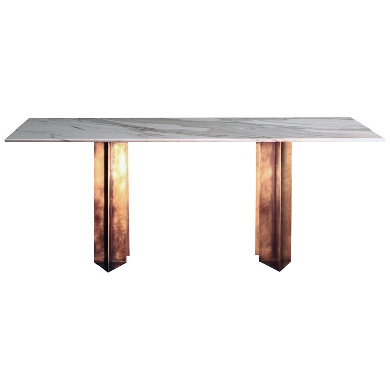 Marble and Brass Dining Table Handcrafted and Signed by Novocastrian For Sale