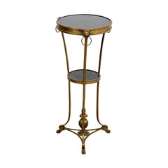 Marble and Brass Gueridon Side Table