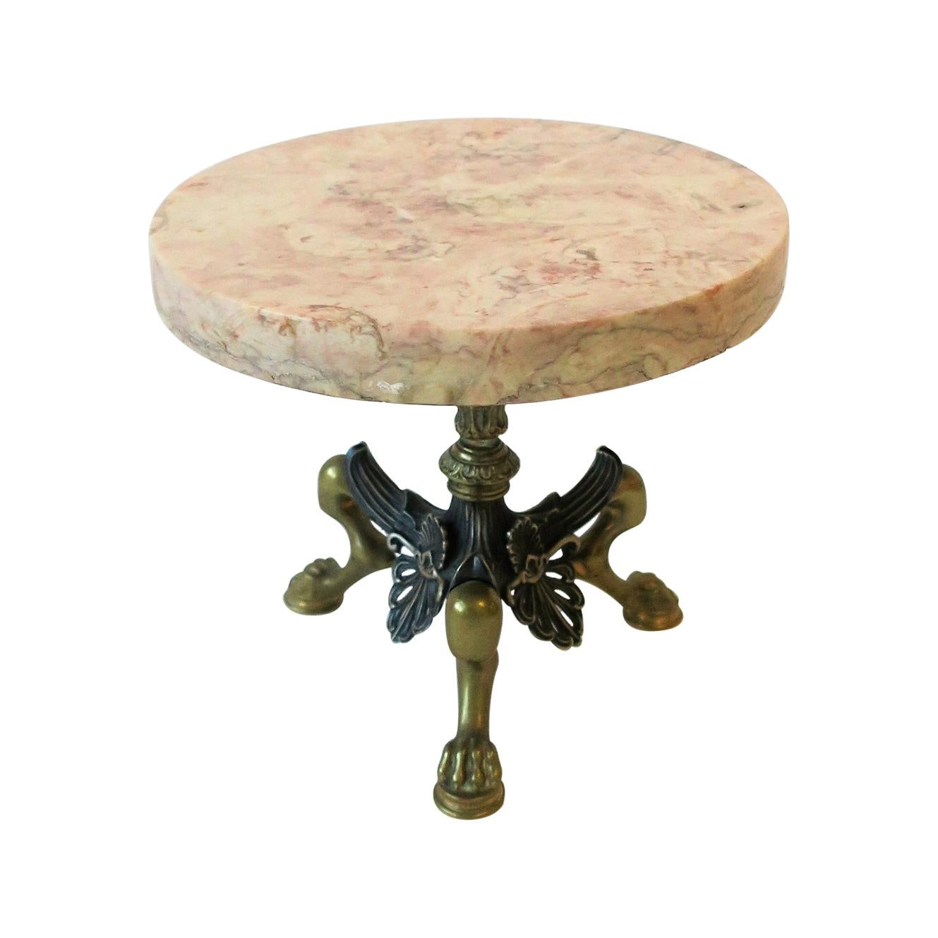 Marble and Brass Round Pedestal with Lion Paw Feet