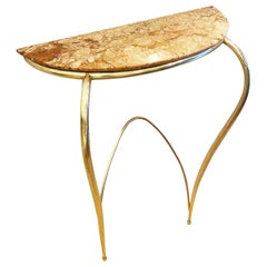 Marble and Brass Wall Console, Italy, 1950s