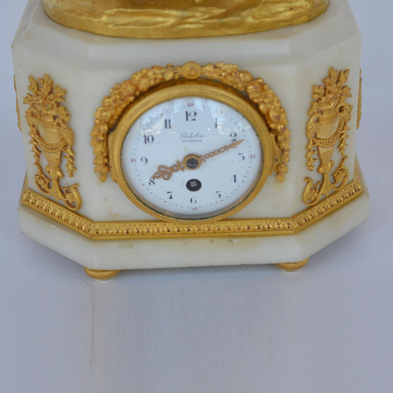 Marble and Bronze Clock Garniture after Jean-Michel Clodion French 1738-1814 For Sale 7