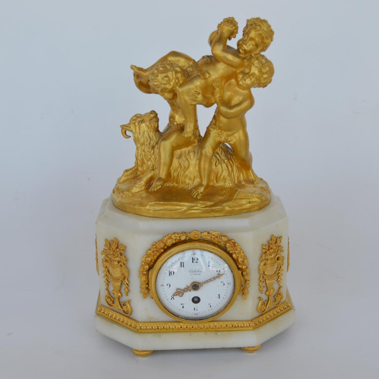 Marble and Bronze Clock Garniture after Jean-Michel Clodion French 1738-1814 For Sale 8