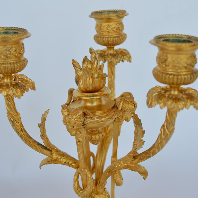 Marble and Bronze Clock Garniture after Jean-Michel Clodion French 1738-1814 In Good Condition For Sale In Los Angeles, CA