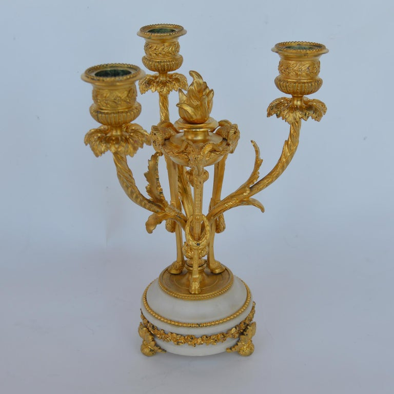 Mid-18th Century Marble and Bronze Clock Garniture after Jean-Michel Clodion French 1738-1814 For Sale