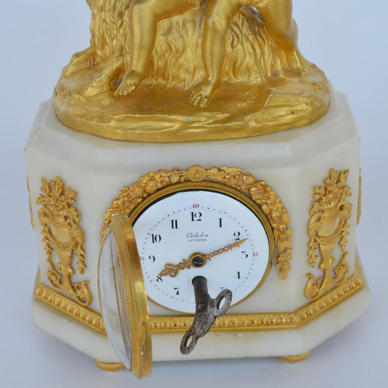 Marble and Bronze Clock Garniture after Jean-Michel Clodion French 1738-1814 For Sale 2