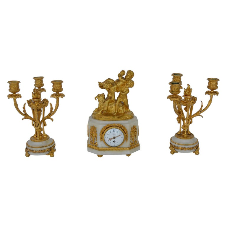 Marble and Bronze Clock Garniture after Jean-Michel Clodion French 1738-1814 For Sale