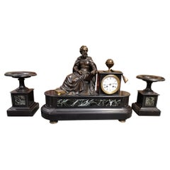 Marble and Bronze Clock with Allegory of Astronomy Representing Copernico