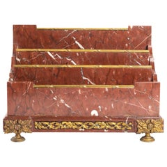Marble and Bronze Gilded Letter Holders 'Original Gilding', Napoleon III Period