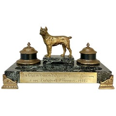 Marble and Bronze Inkwell for Dog Club, Art Deco Period